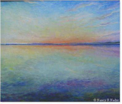 Sunset at sea by Nancy Nadzo