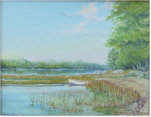 Webb Pond Maine by Nancy R Nadzo